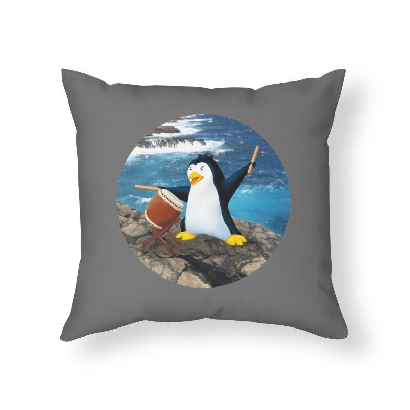 Taiko Penguin (Naname) Ocean ver. Home Throw Pillow by Chung's Musical Penguins