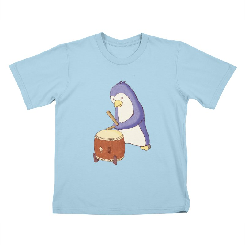Taiko Penguin (Beta) Kids T-Shirt by Chung's Musical Penguins