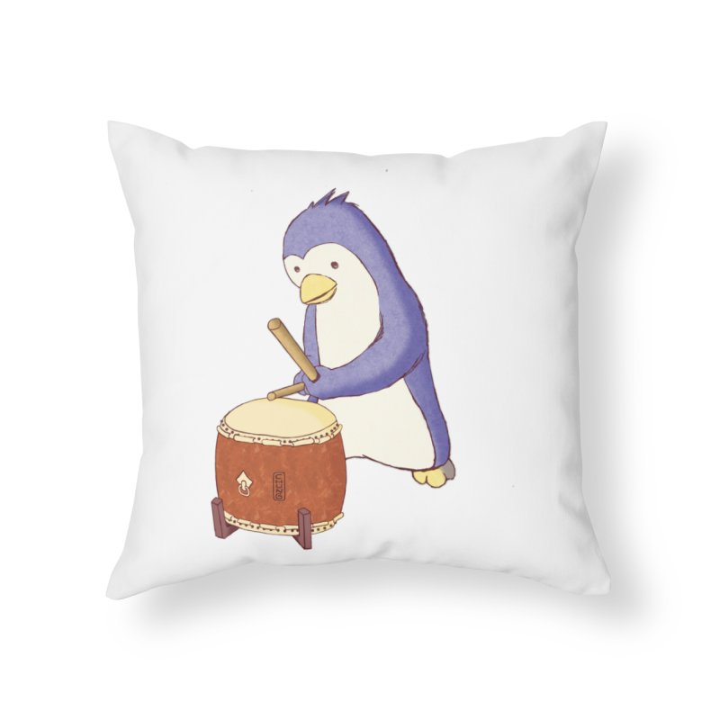 Taiko Penguin (Beta) Home Throw Pillow by Chung's Musical Penguins