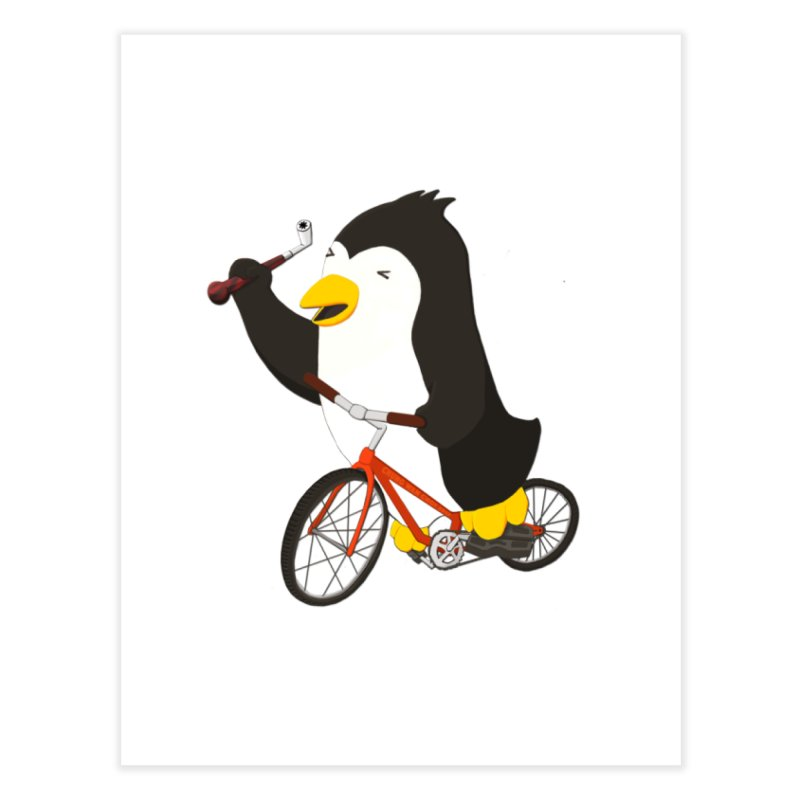 Cycling Penguin (w/ Piano Tuning Lever) Home Fine Art Print by Chung's Musical Penguins