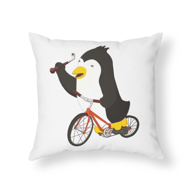 Cycling Penguin (w/ Piano Tuning Lever) Home Throw Pillow by Chung's Musical Penguins