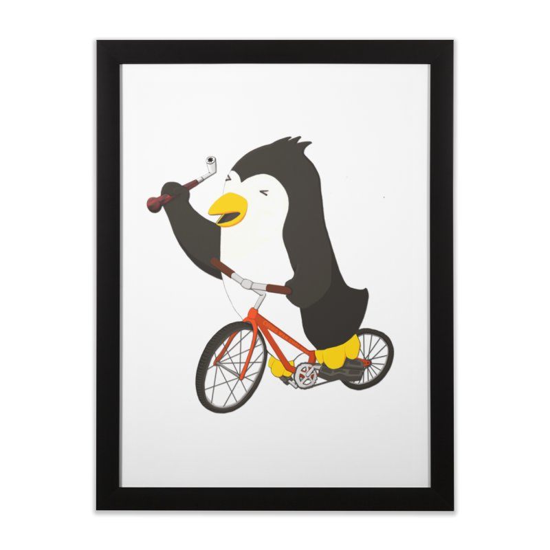Cycling Penguin (w/ Piano Tuning Lever) Home Framed Fine Art Print by Chung's Musical Penguins