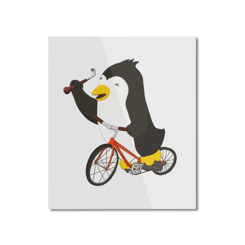 Cycling Penguin (w/ Piano Tuning Lever) Home Mounted Aluminum Print by Chung's Musical Penguins