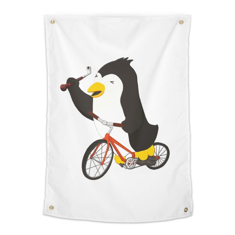 Cycling Penguin (w/ Piano Tuning Lever) Home Tapestry by Chung's Musical Penguins