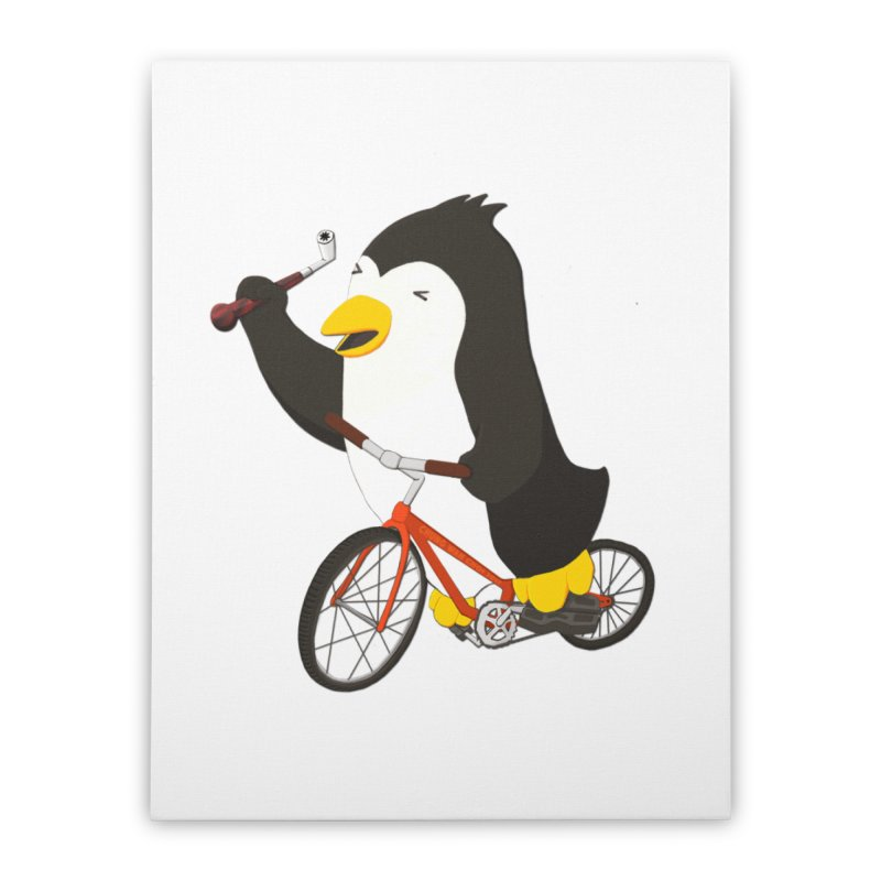 Cycling Penguin (w/ Piano Tuning Lever) Home Stretched Canvas by Chung's Musical Penguins