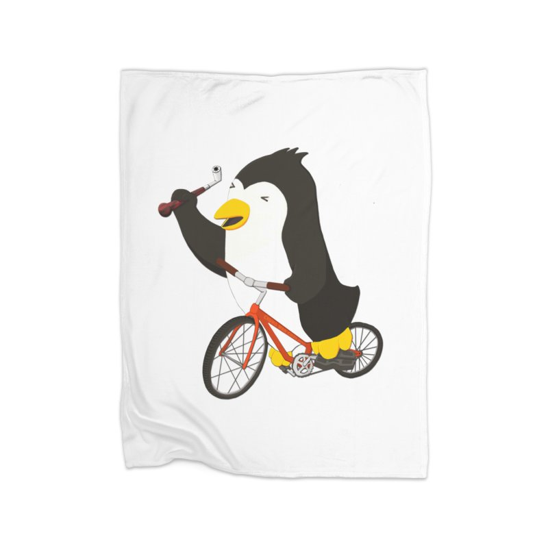 Cycling Penguin (w/ Piano Tuning Lever) Home Fleece Blanket Blanket by Chung's Musical Penguins