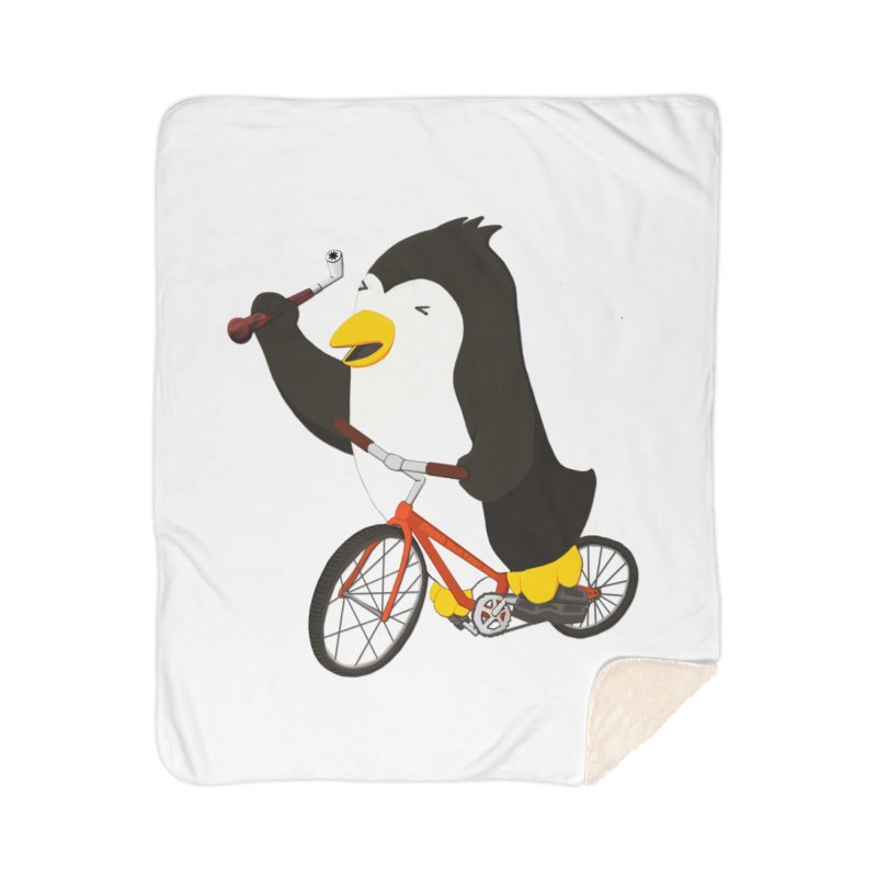 Cycling Penguin (w/ Piano Tuning Lever) Home Sherpa Blanket Blanket by Chung's Musical Penguins