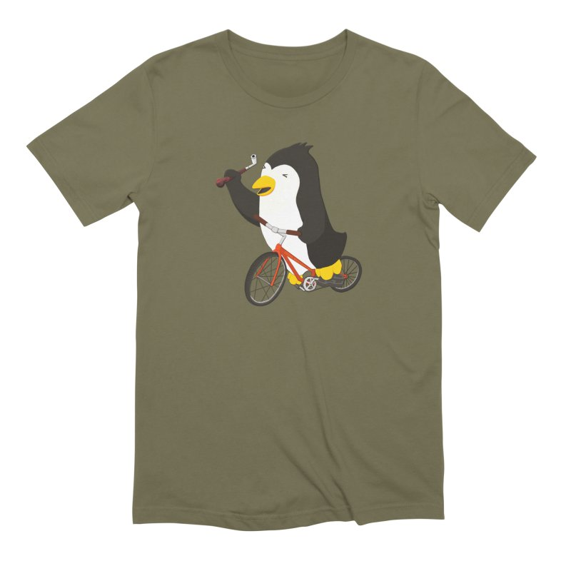 Cycling Penguin (w/ Piano Tuning Lever) Men's Extra Soft T-Shirt by Chung's Musical Penguins