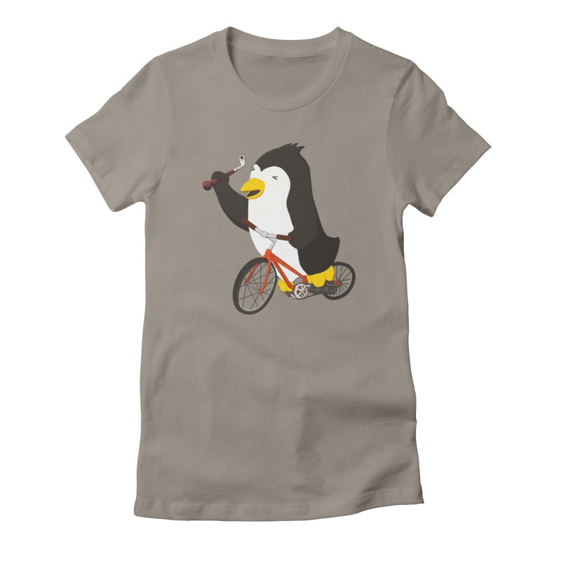 Cycling Penguin (w/ Piano Tuning Lever) Women's Fitted T-Shirt by Chung's Musical Penguins