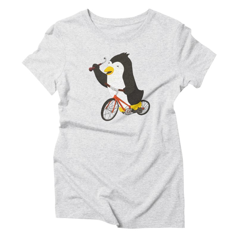 Cycling Penguin (w/ Piano Tuning Lever) Women's Triblend T-Shirt by Chung's Musical Penguins