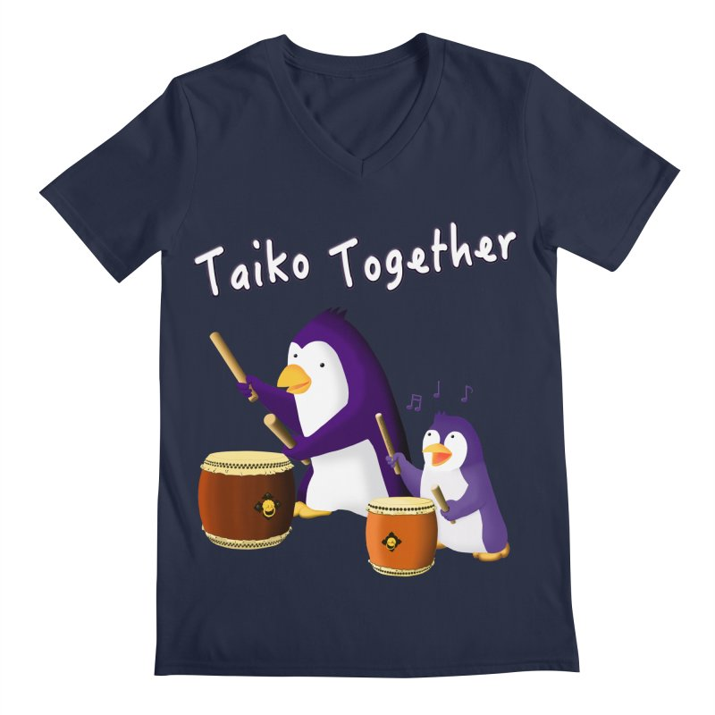 """Taiko Together"" Men's Regular V-Neck by Chung's Musical Penguins"