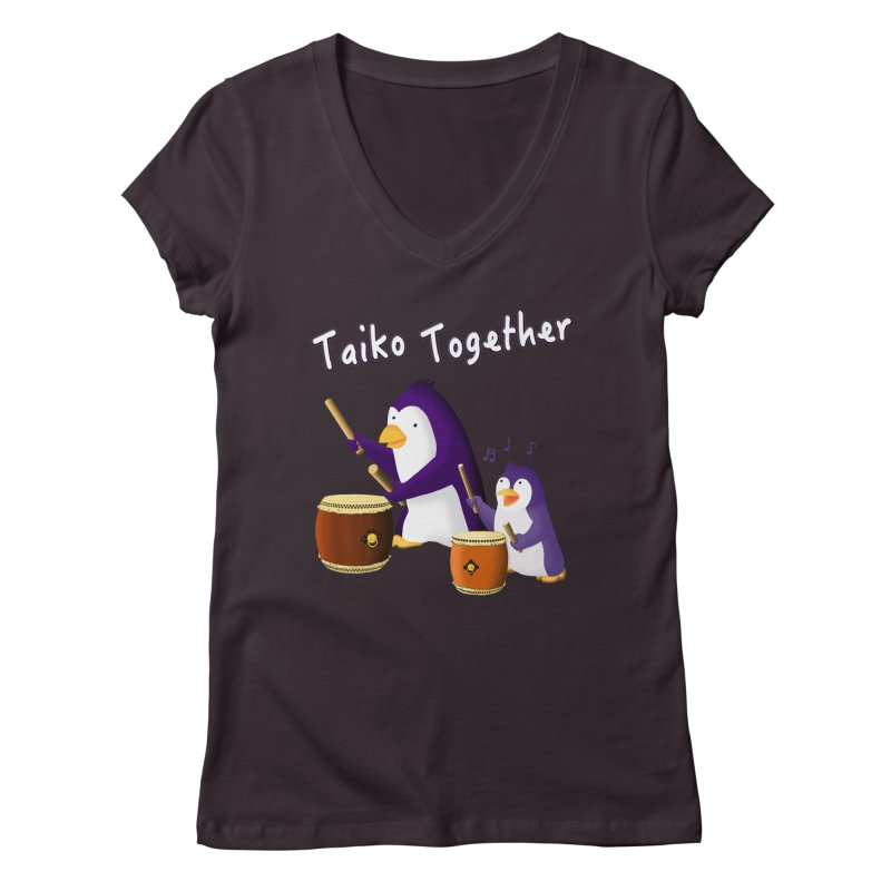 """""""Taiko Together"""" Women's Regular V-Neck by Chung's Musical Penguins"""