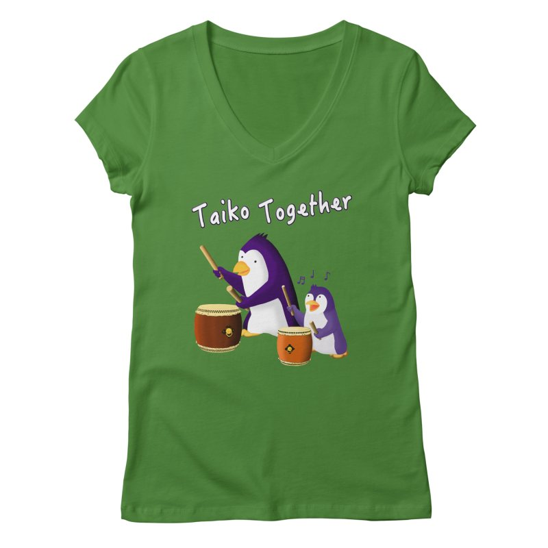 """Taiko Together"" Women's Regular V-Neck by Chung's Musical Penguins"