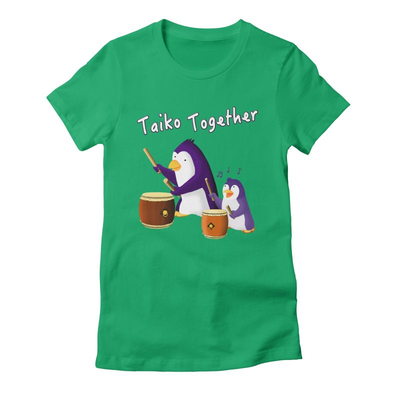 """Taiko Together"" Women's Fitted T-Shirt by Chung's Musical Penguins"