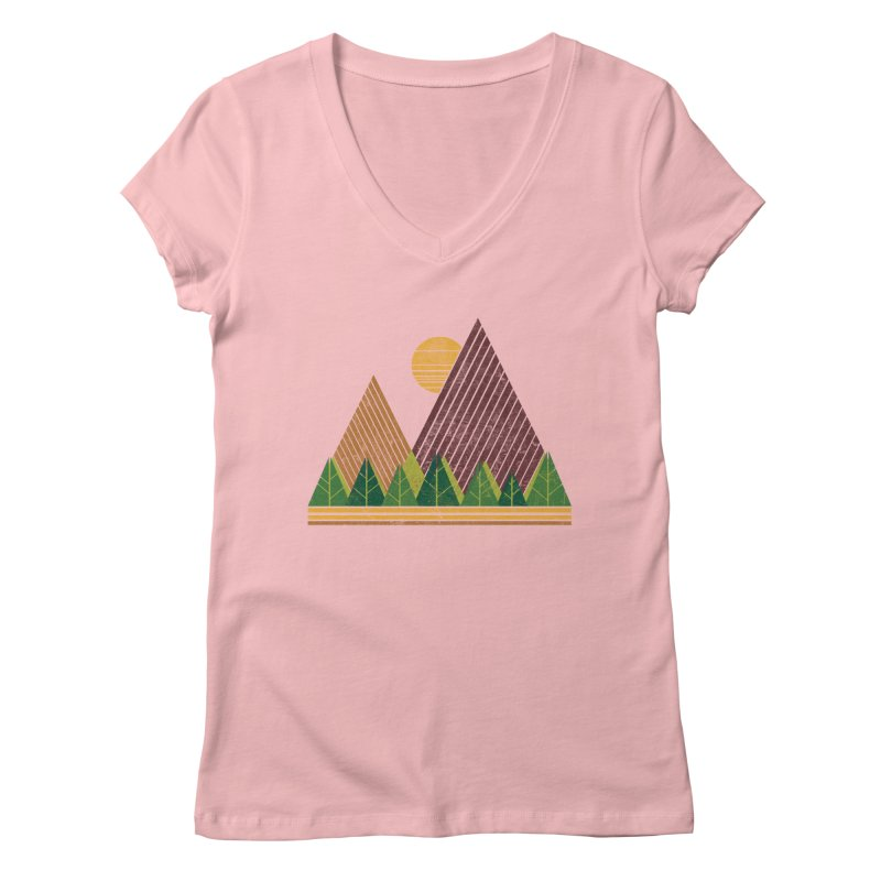 Simple Landscape (Light Version) Women's V-Neck by chunkydesign's Artist Shop