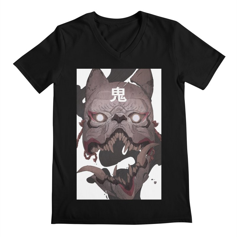 Kitsune Men's Regular V-Neck by Chun Lo's Artist Shop