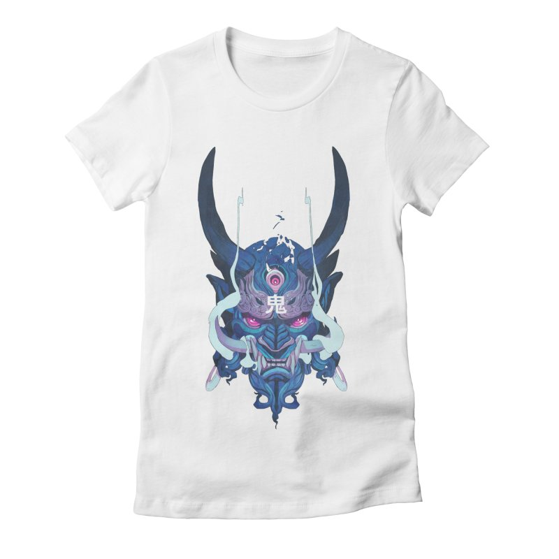 Oni Mask 01 Women's Fitted T-Shirt by Chun Lo's Artist Shop