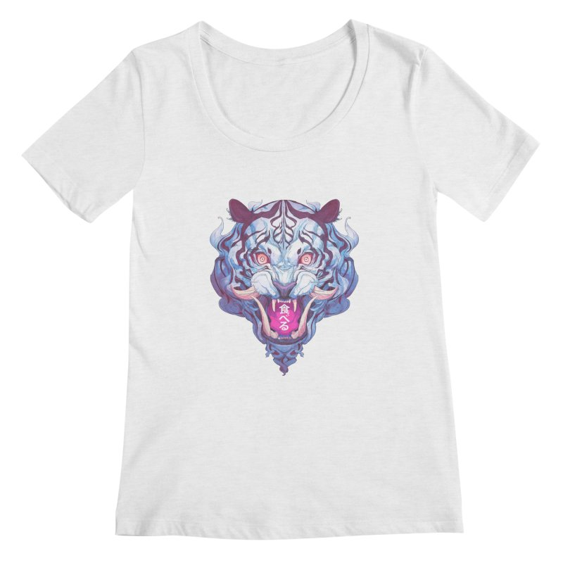 The Tiger Women's Regular Scoop Neck by Chun Lo's Artist Shop