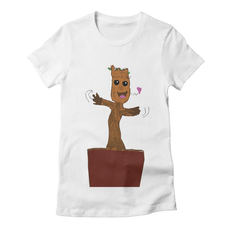Potted Groot Women's Fitted T-Shirt by churro's Artist Shop