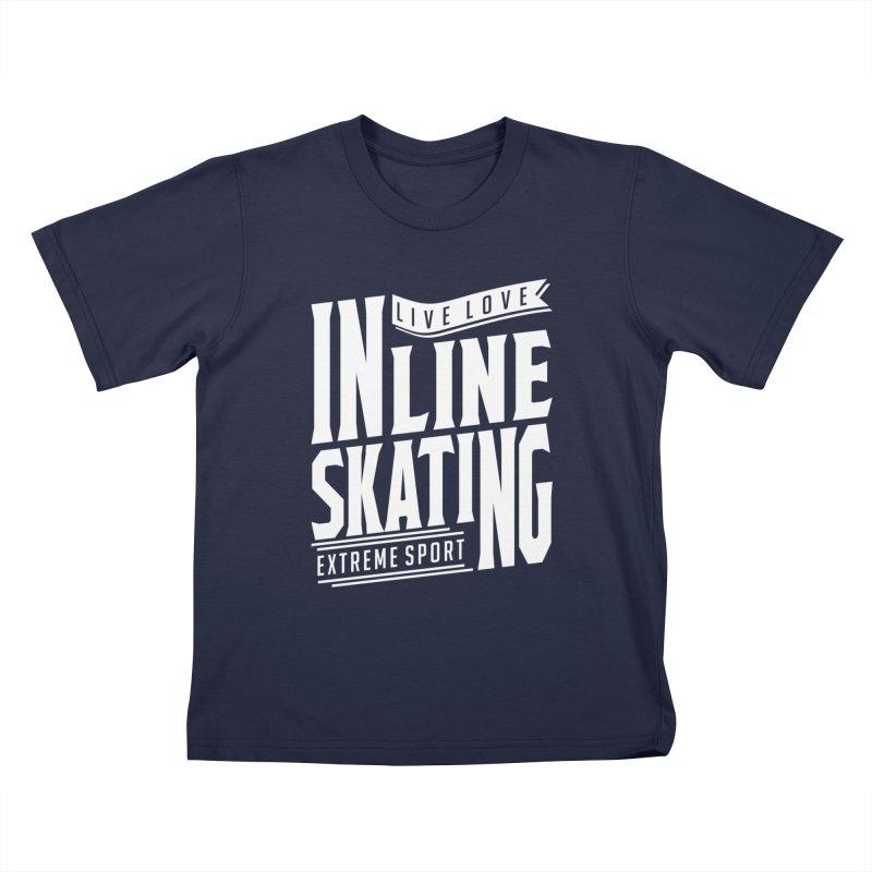 Live Love Inline Skating Extreme Sport Kids T-Shirt by Cido Lopez Shop