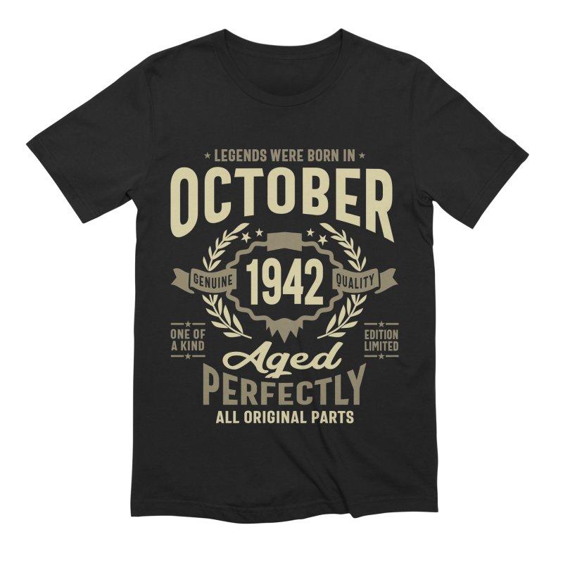 Legends Were Born in October 1942 Birthday Vintage Retro Funny Men's T-Shirt by Cido Lopez Shop