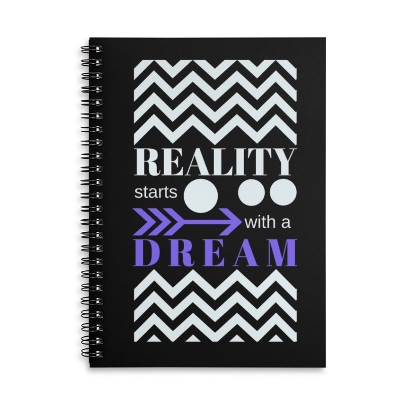 Reality starts with a dream - white purple in Lined Spiral Notebook by Inspirational Notebooks
