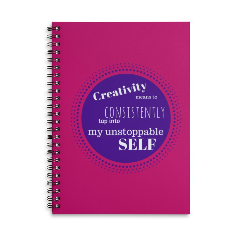 Creativity means - purple in Lined Spiral Notebook by Inspirational Notebooks