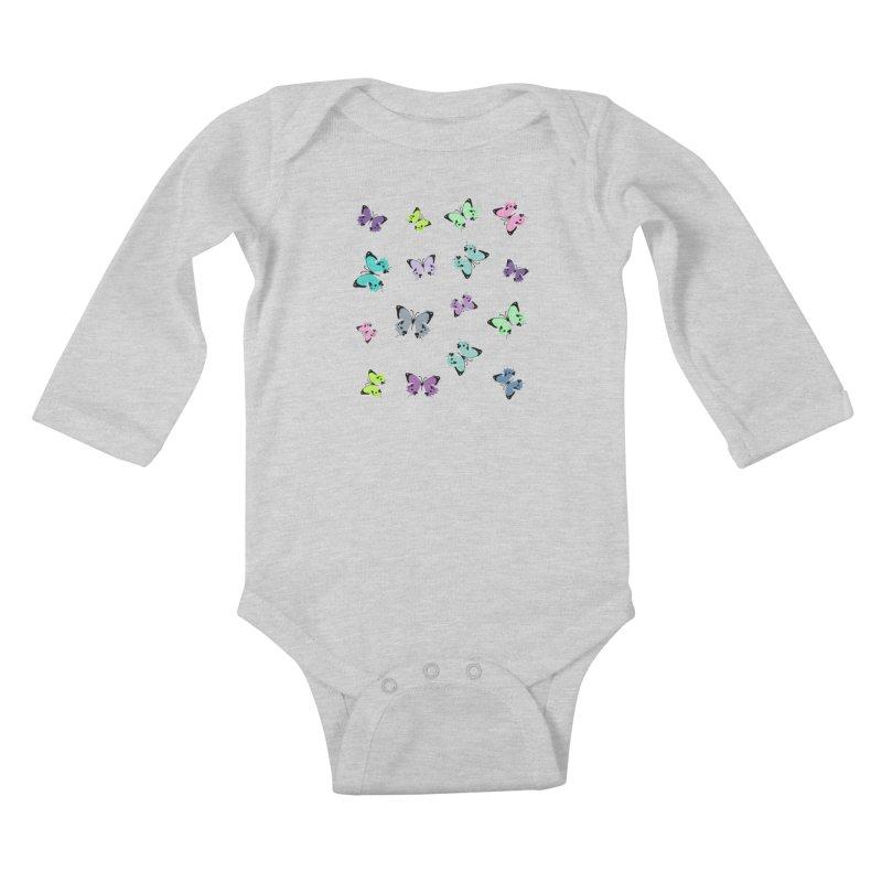 Colorful butterflies Kids Baby Longsleeve Bodysuit by cindyshim's Artist Shop