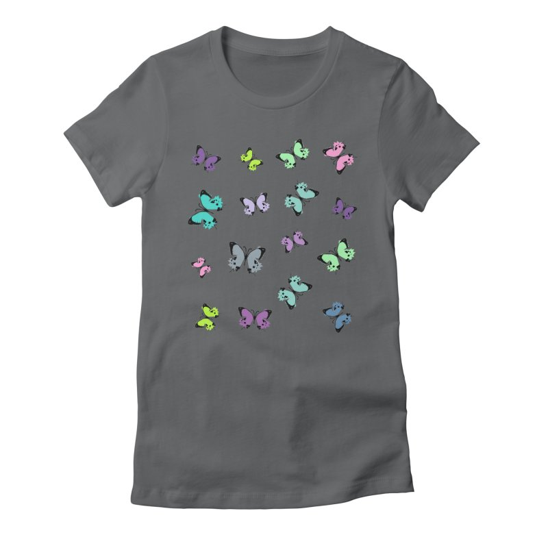 Colorful butterflies Women's Fitted T-Shirt by cindyshim's Artist Shop
