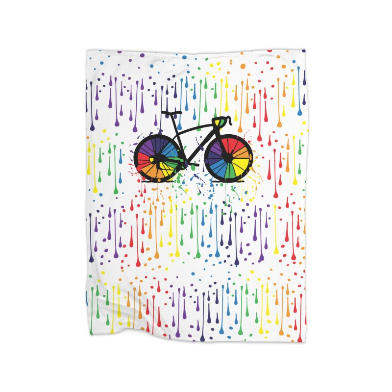 Rainbow bicycle Home Fleece Blanket Blanket by cindyshim's Artist Shop