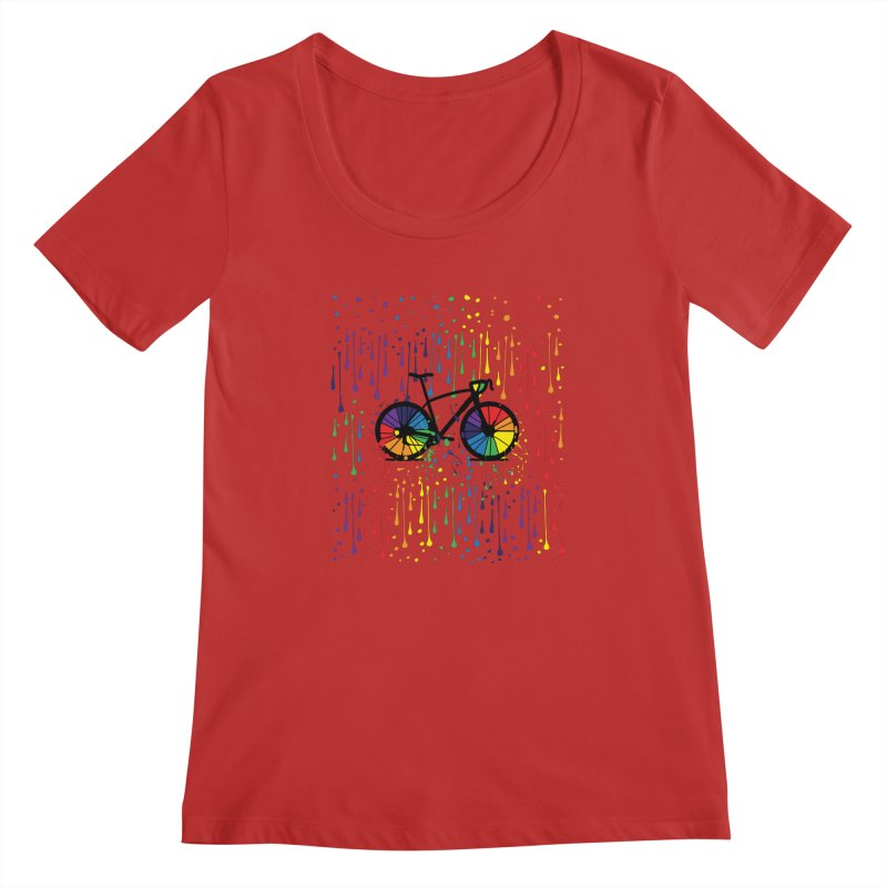 Rainbow bicycle Women's Regular Scoop Neck by cindyshim's Artist Shop