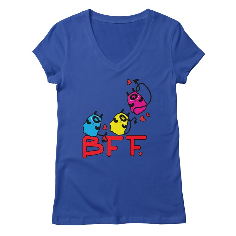 BFF MONSTERS Women's Regular V-Neck by cindyshim's Artist Shop