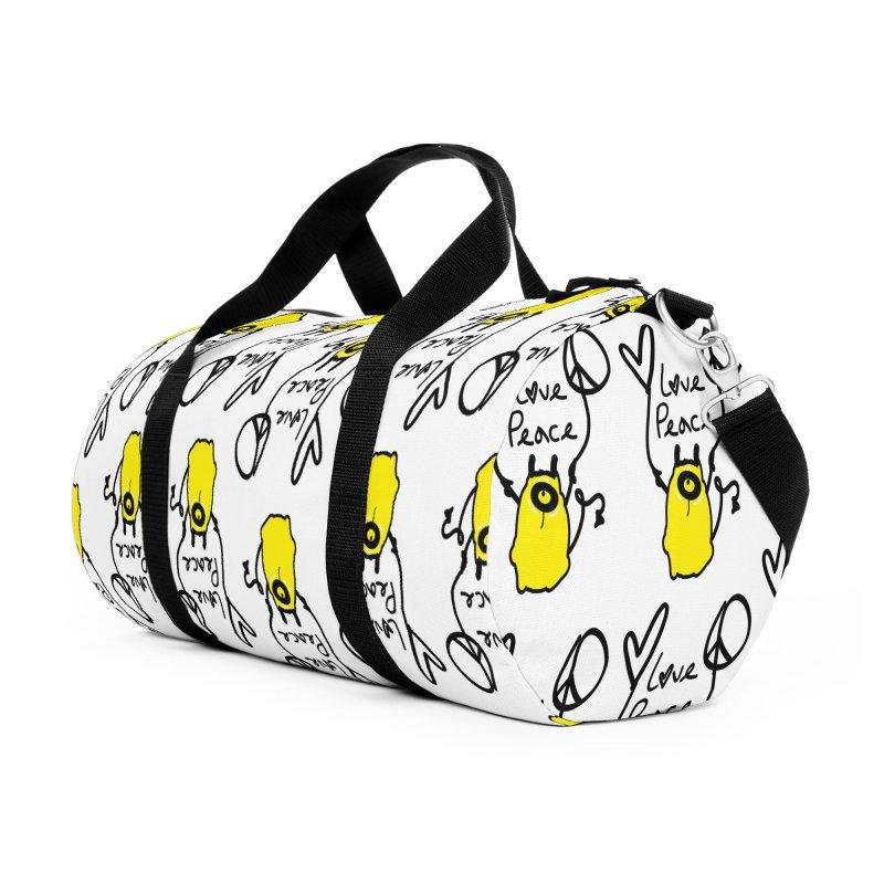 Love Peace Monster Accessories Duffel Bag Bag by cindyshim's Artist Shop