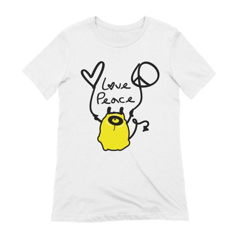 Love Peace Monster Women's Extra Soft T-Shirt by cindyshim's Artist Shop