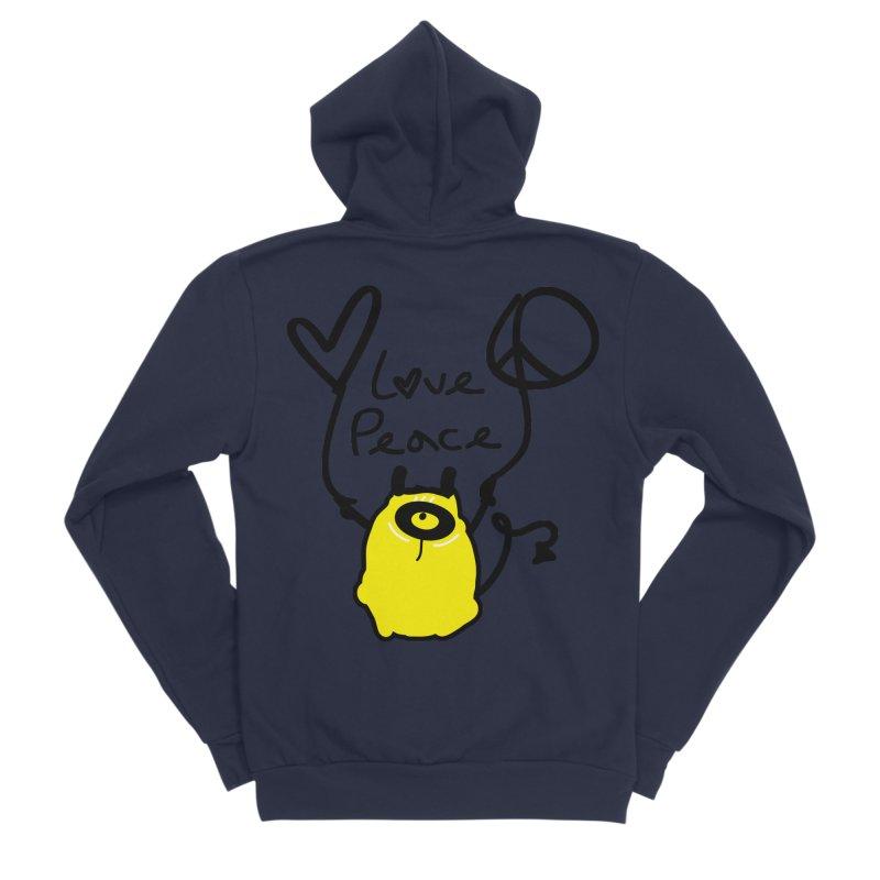 Love Peace Monster Men's Sponge Fleece Zip-Up Hoody by cindyshim's Artist Shop