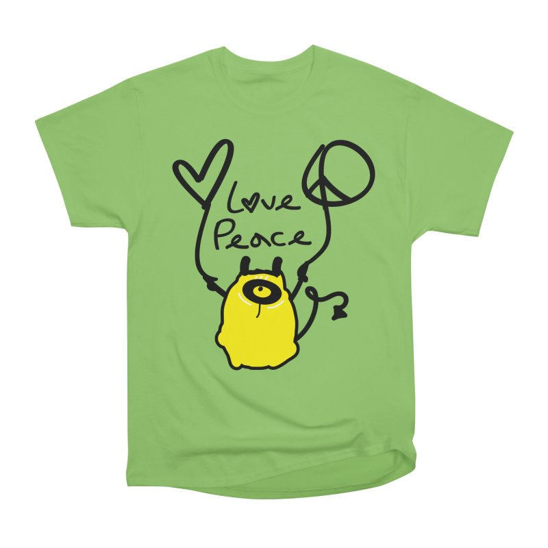 Love Peace Monster Men's Heavyweight T-Shirt by cindyshim's Artist Shop
