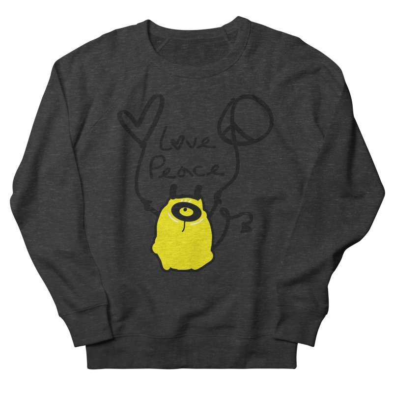 Love Peace Monster Women's French Terry Sweatshirt by cindyshim's Artist Shop