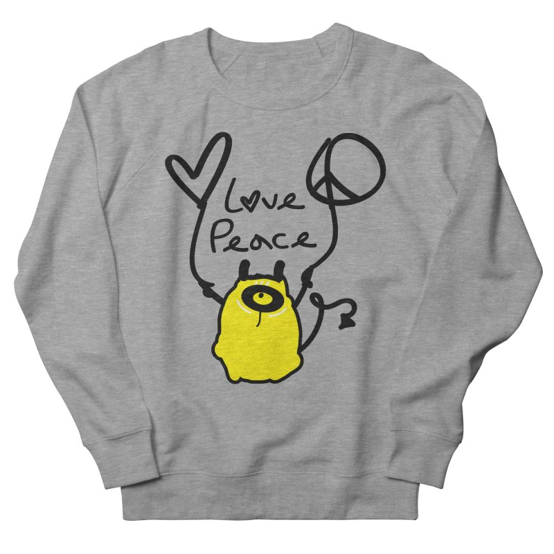 Love Peace Monster Men's French Terry Sweatshirt by cindyshim's Artist Shop