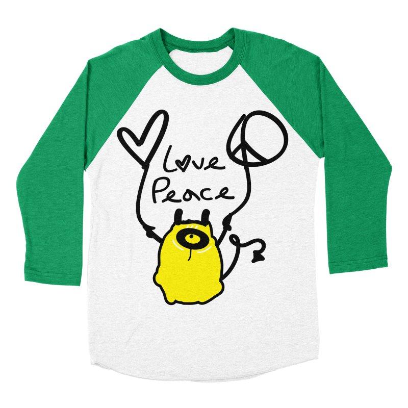 Love Peace Monster Men's Baseball Triblend Longsleeve T-Shirt by cindyshim's Artist Shop