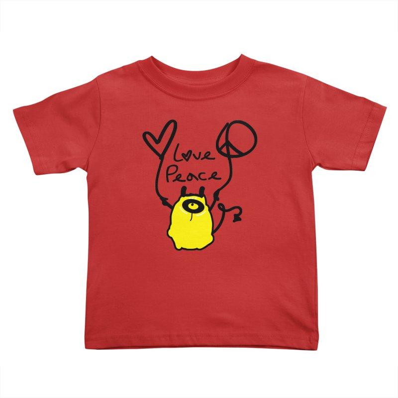 Love Peace Monster Kids Toddler T-Shirt by cindyshim's Artist Shop