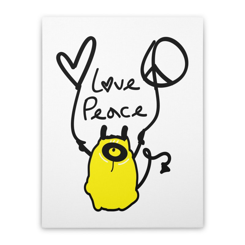 Love Peace Monster Home Stretched Canvas by cindyshim's Artist Shop