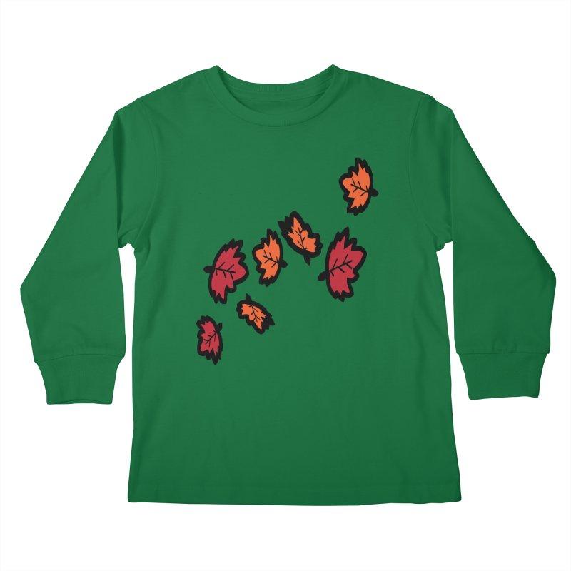 Autumn maple leaves Kids Longsleeve T-Shirt by cindyshim's Artist Shop