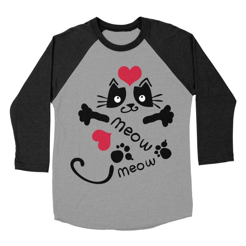Meow Meow cat Women's Baseball Triblend Longsleeve T-Shirt by cindyshim's Artist Shop