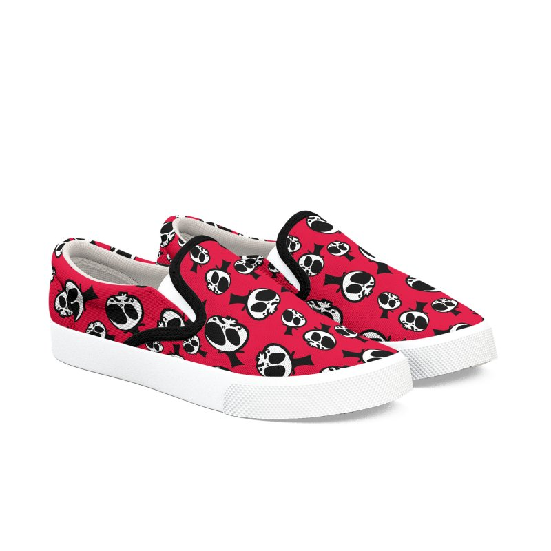 Skull with mustache Women's Slip-On Shoes by cindyshim's Artist Shop