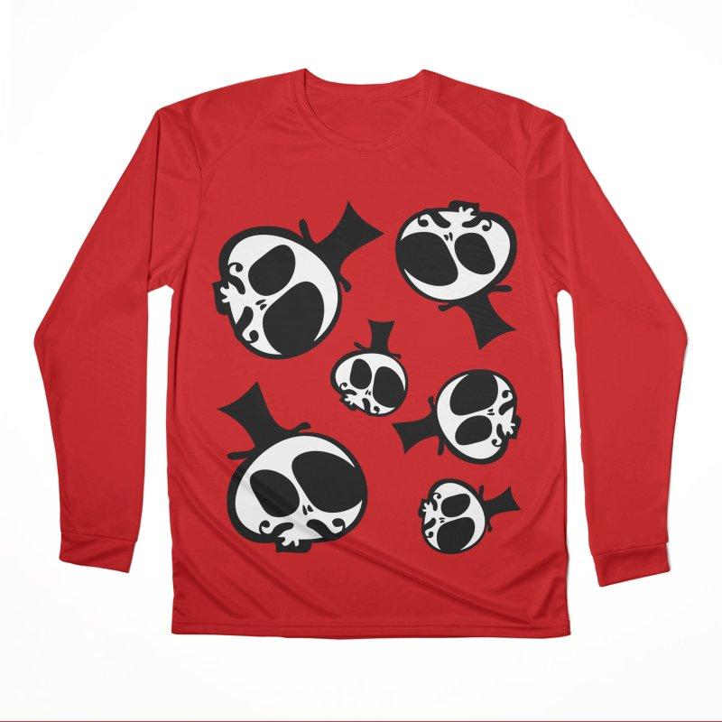 Skull with mustache Women's Performance Unisex Longsleeve T-Shirt by cindyshim's Artist Shop