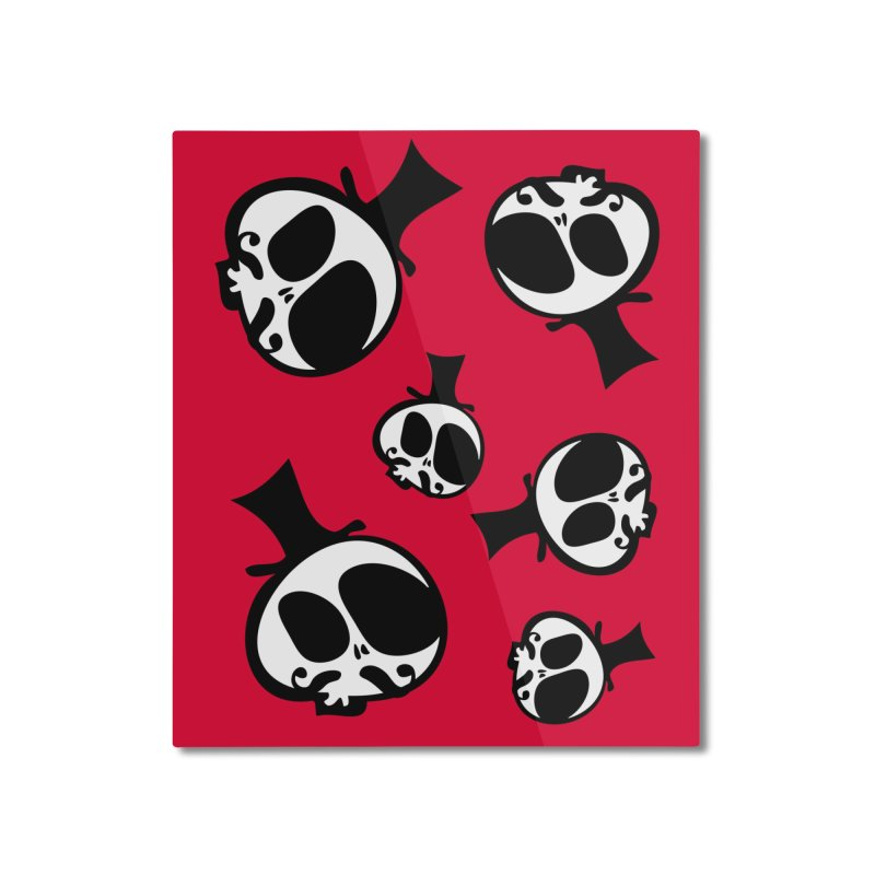 Skull with mustache Home Mounted Aluminum Print by cindyshim's Artist Shop