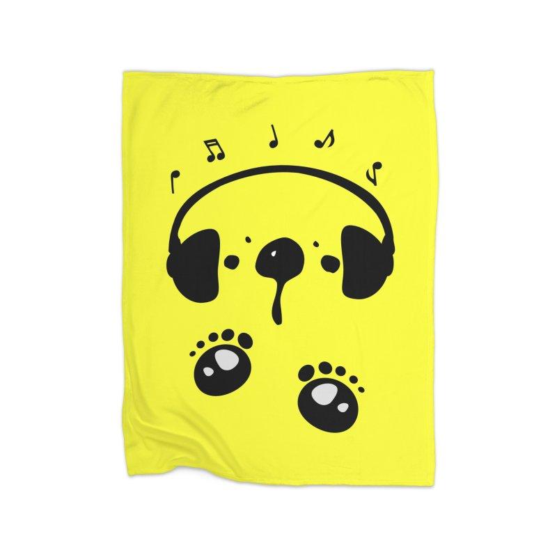 Panda bear love music Home Fleece Blanket Blanket by cindyshim's Artist Shop