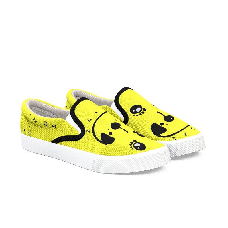 Panda bear love music Women's Slip-On Shoes by cindyshim's Artist Shop