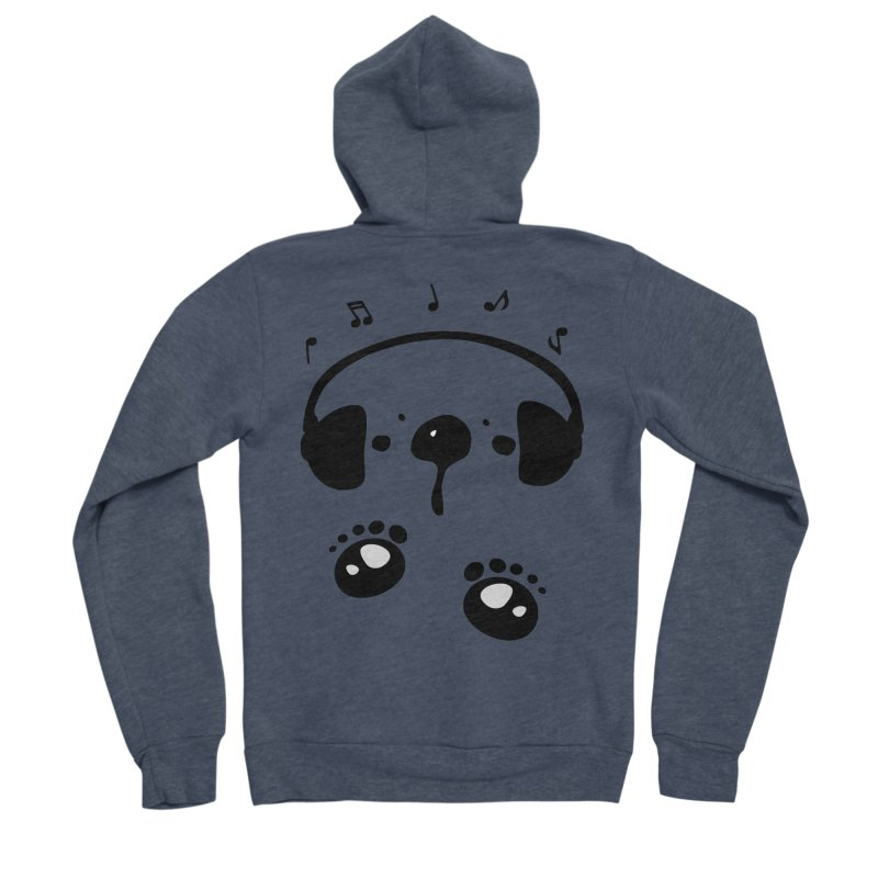Panda bear love music Women's Sponge Fleece Zip-Up Hoody by cindyshim's Artist Shop