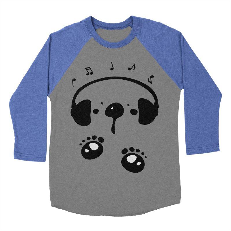 Panda bear love music Men's Baseball Triblend Longsleeve T-Shirt by cindyshim's Artist Shop